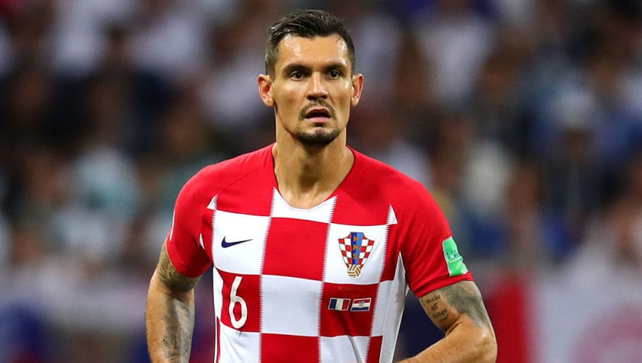 MOSCOW, RUSSIA - JULY 15: Dejan Lovren of Croatia in action during the 2018 FIFA World Cup Russia Final between France and Croatia at Luzhniki Stadium on July 15, 2018 in Moscow, Russia. (Photo by Chris Brunskill/Fantasista/Getty Images)