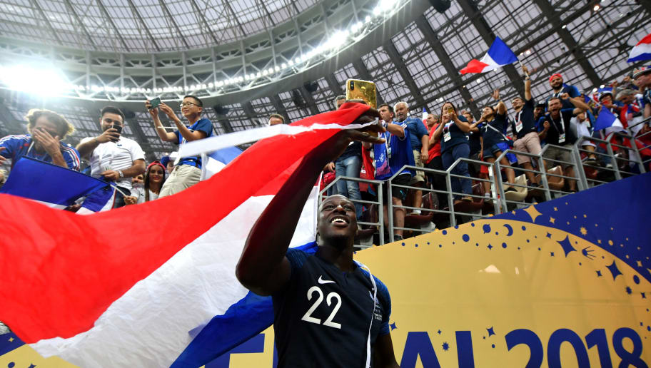 MOSCOW, RUSSIA - JULY 15:  Benjamin Mendy of France celebrates victory following the 2018 FIFA World Cup Final between France and Croatia at Luzhniki Stadium on July 15, 2018 in Moscow, Russia.  (Photo by Dan Mullan/Getty Images)