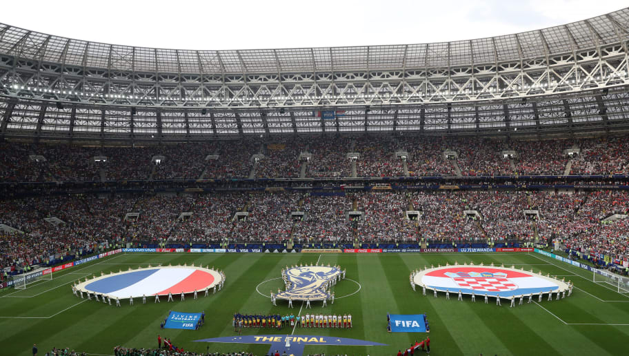 MOSCOW, RUSSIA - JULY 15:  General view inside the stadium as the France and Croatia teams line up prior to the 2018 FIFA World Cup Final between France and Croatia at Luzhniki Stadium on July 15, 2018 in Moscow, Russia.  (Photo by Catherine Ivill/Getty Images)