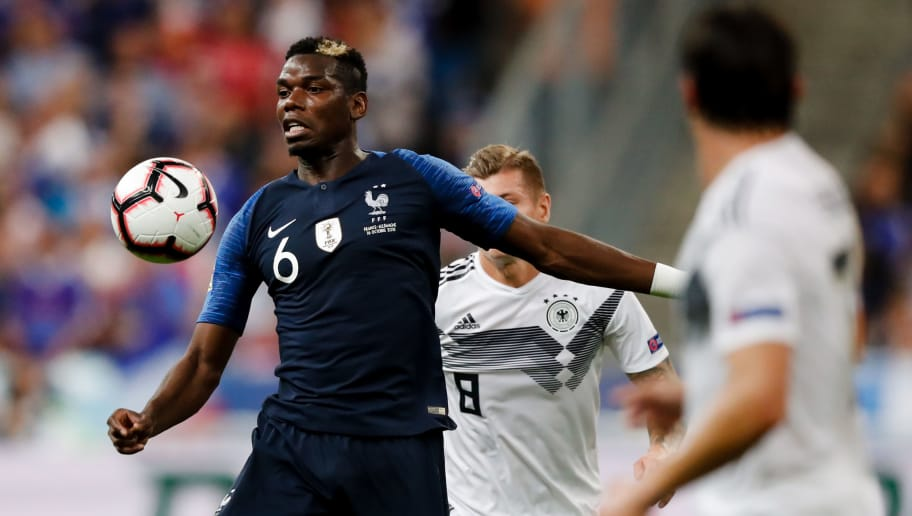 PARIS, FRANCE - OCTOBER 16: Paul Pogba of France during the  UEFA Nations league match between France  v Germany  at the Stade de France on October 16, 2018 in Paris France (Photo by Jeroen Meuwsen/Soccrates/Getty Images)