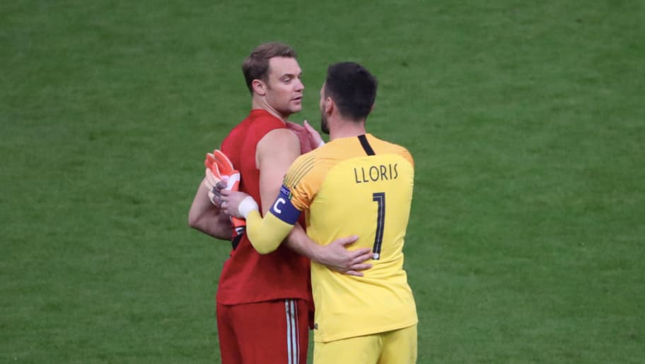 PARIS, FRANCE - OCTOBER 16: Hugo Lloris (R) of France and Manuel Neuer of Germany greet after the UEFA Nations League A group one match between France and Germany at Stade de France on October 16, 2018 in Paris, France.  (Photo by Xavier Laine/Getty Images)