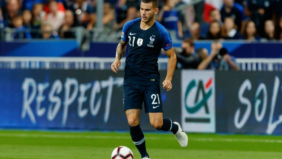 PARIS, FRANCE - OCTOBER 16: Lucas Hernandez of France controls the ball during the UEFA Nations League A group one match between France and Germany at Stade de France on October 16, 2018 in Paris, France. (Photo by TF-Images/Getty Images)