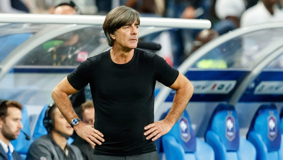 PARIS, FRANCE - OCTOBER 16: Head coach Joachim Loew of Germany looks on during the UEFA Nations League A group one match between France and Germany at Stade de France on October 16, 2018 in Paris, France. (Photo by TF-Images/Getty Images)