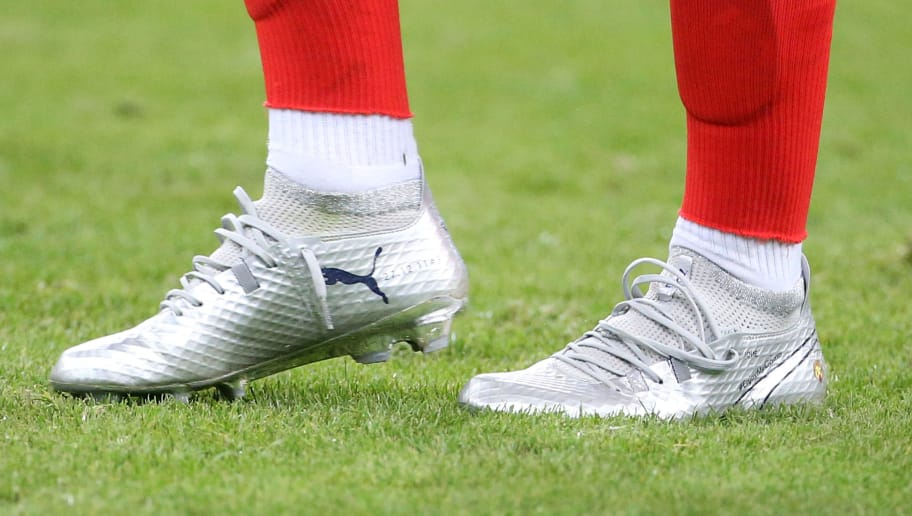 PARIS, FRANCE - AUGUST 31: Illustration of the Puma shoes of Antoine Griezmann of France following the FIFA 2018 World Cup Qualifier between France and the Netherlands at Stade de France on August 31, 2017 in Saint-Denis near Paris, France. (Photo by Jean Catuffe/Getty Images)