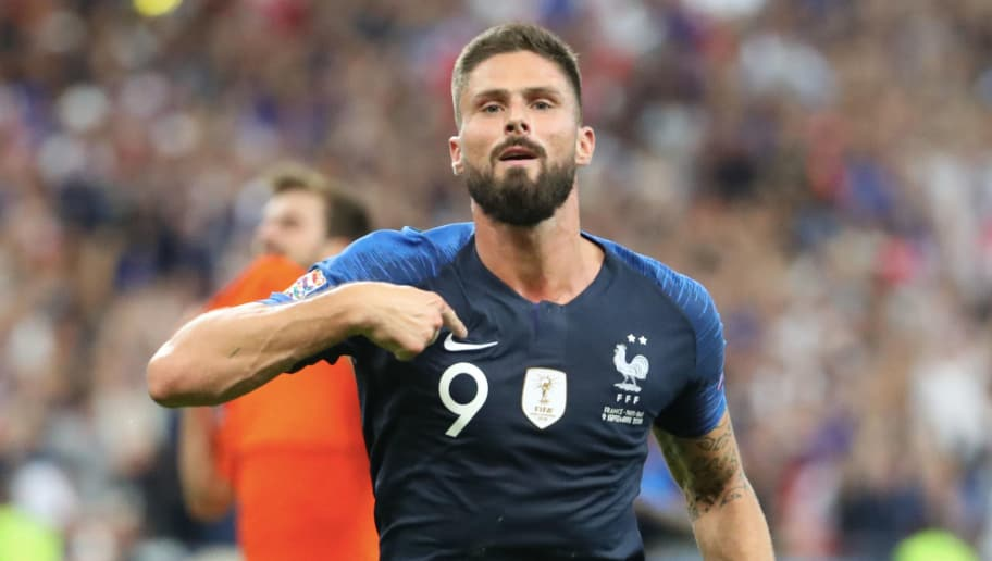 PARIS, FRANCE - SEPTEMBER 09:  Olivier Giroud of France celebrates is goal during the UEFA Nations League A group one match between France and Netherlands at Stade de France on September 9, 2018 in Paris, France.  (Photo by Xavier Laine/Getty Images)