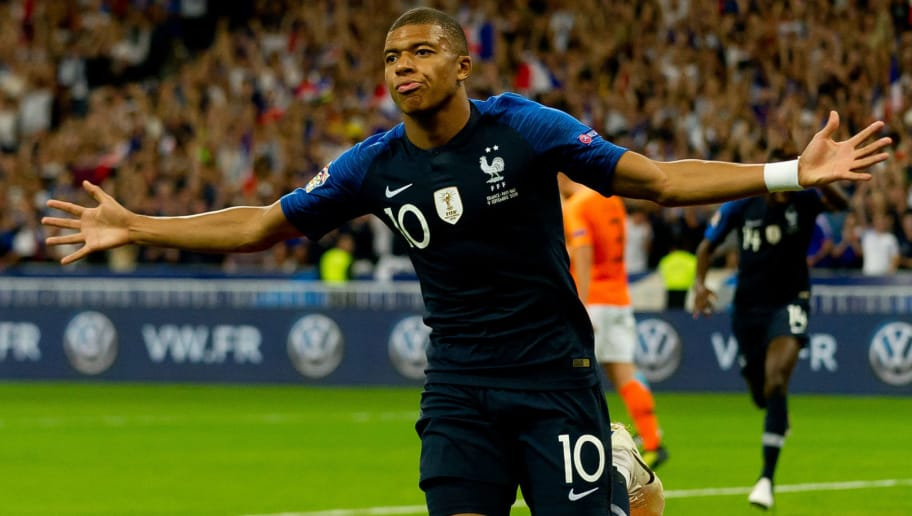 PARIS, FRANCE - SEPTEMBER 09: Kylian Mbappe of France celebrates after scoring his team`s first goal during the UEFA Nations League A group one match between France and Netherlands at Stade de France on September 9, 2018 in Paris, France. (Photo by TF-Images/Getty Images)