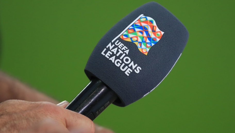 PARIS, FRANCE - SEPTEMBER 09: A microphone featuring detail of the UEFA Nations League logo during the UEFA Nations League A group one match between France and Netherlands at Stade de France on September 9, 2018 in Paris, France. (Photo by Marc Atkins/Getty Images)