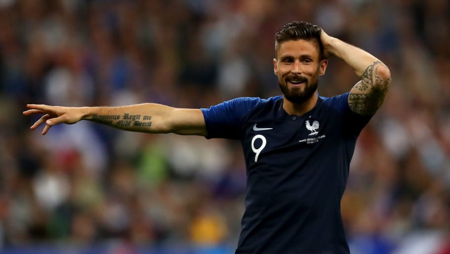 PARIS, FRANCE - MAY 28:  Olivier Giroud of France reacts during the International Friendly match between France and Ireland at Stade de France on May 28, 2018 in Paris, France.  (Photo by Dean Mouhtaropoulos/Getty Images)