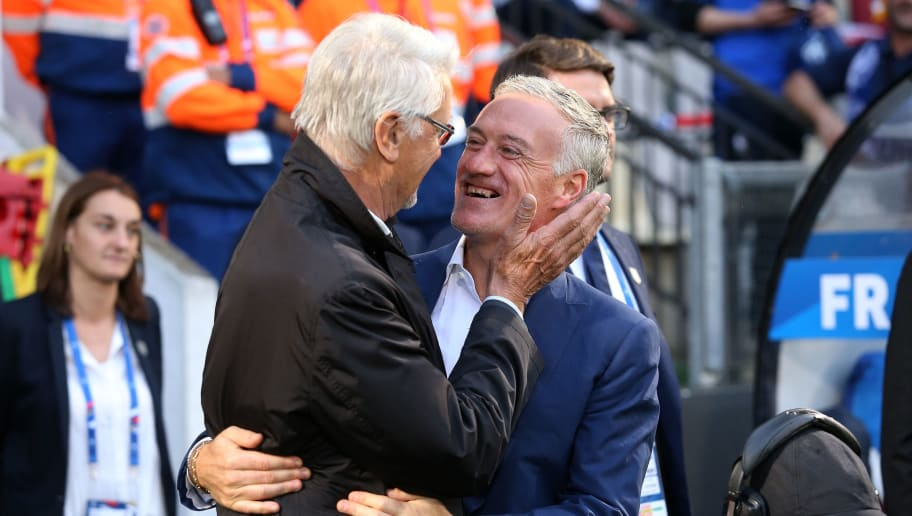 METZ, FRANCE - JUNE 4: Coach of France 1998 Aime Jacquet greets his former captain, coach of France Didier Deschamps before the international friendly match between France and Scotland at Stade Saint Symphorien on June 4, 2016 in Metz, France. (Photo by Jean Catuffe/Getty Images)
