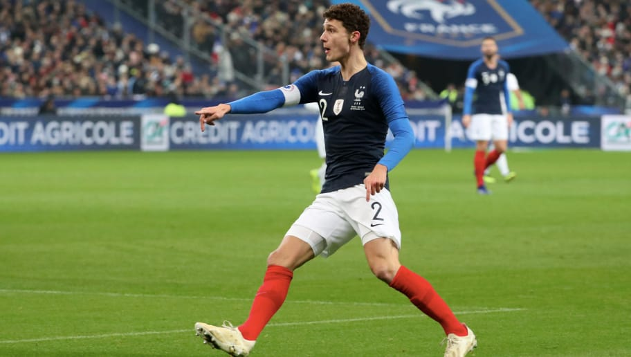 PARIS, FRANCE - NOVEMBER 20:  Benjamin Pavard of France reacts during the International Friendly match between France and Uruguay at Stade de France on November 20, 2018 in Paris, France.  (Photo by Xavier Laine/Getty Images)