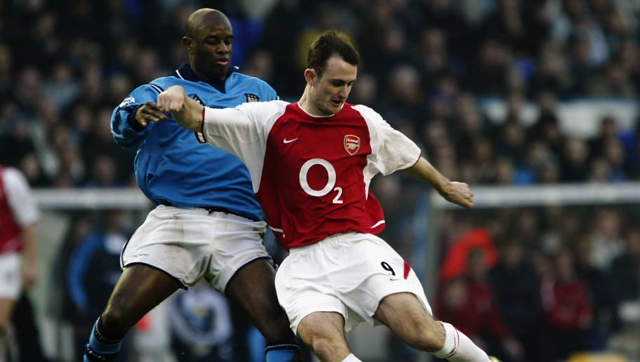 Francis Jeffers of Arsenal and David Sommeil of Manchester City