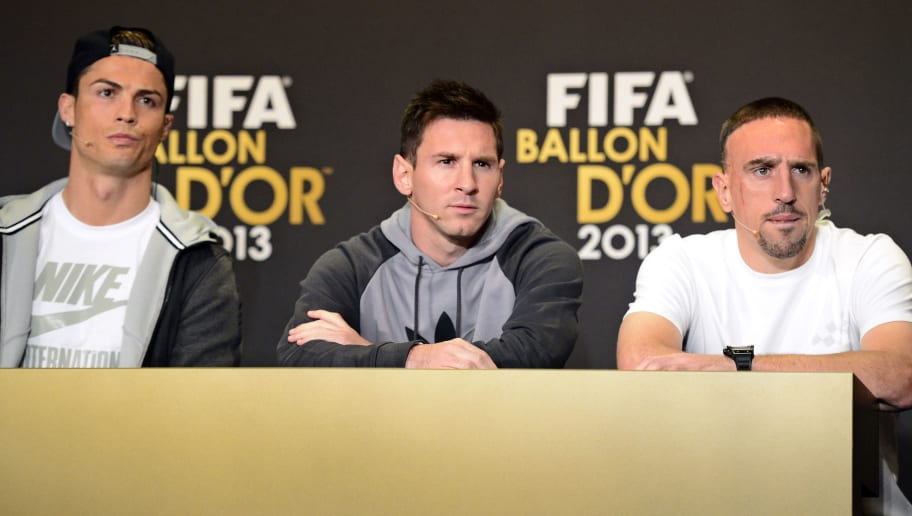 2013 FIFA Ballon d'Or nominees (L-R) Real Madrid's Portuguese forward Cristiano Ronaldo, Barcelona's Argentine forward Lionel Messi and Bayern Munich's French midfielder Franck Ribery attend a press conference ahead of the FIFA Ballon d'Or award ceremony at the Kongresshaus in Zurich on January 13, 2014.  AFP PHOTO / OLIVIER MORIN        (Photo credit should read OLIVIER MORIN/AFP/Getty Images)