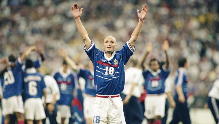 12 Jul 1998:  Frank Leboeuf of France celebrates after victory in the World Cup Final against Brazil at the Stade de France in St Denis. France won 3-0.  \ Mandatory Credit: Clive Brunskill /Allsport