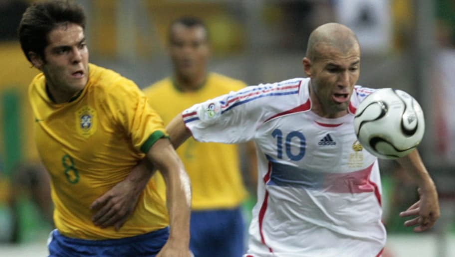 Frankfurt am Main, GERMANY:  French midfielder Zinedine Zidane (R) vies with Brazilian midfielder Kaka (L) during the quarter-final World Cup football match between Brazil and France at Frankfurt's World Cup Stadium, 01 July 2006.  France were leading 1-0 during the second half.     AFP PHOTO / PASCAL PAVANI  (Photo credit should read PASCAL PAVANI/AFP/Getty Images)
