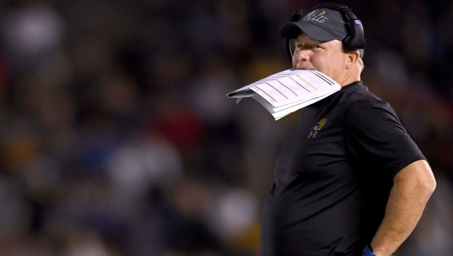 PASADENA, CA - SEPTEMBER 15:  Head coach of the UCLA Bruins Chip Kelly reacts after a Fresno State Bulldogs touchdown to trail 31-14 during the third quarter at Rose Bowl on September 15, 2018 in Pasadena, California.  (Photo by Harry How/Getty Images)