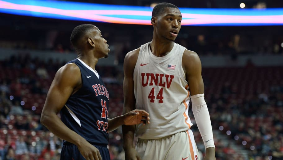 LAS VEGAS, NV - FEBRUARY 21:  Bryson Williams #11 of Fresno State Bulldogs and Brandon McCoy #24 of the UNLV Rebels stand on the court during their game at the Thomas & Mack Center on February 21, 2018 in Las Vegas, Nevada. (Photo by Brandon Magnus/Getty Images)