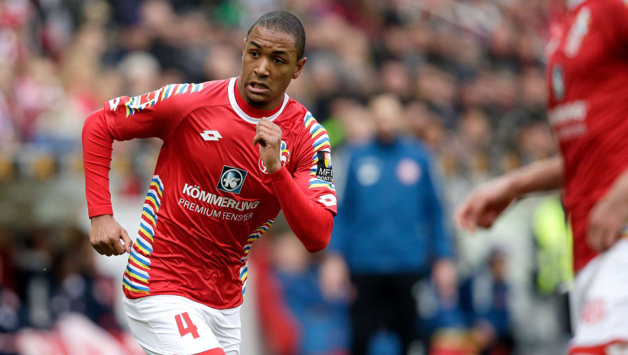 MAINZ, GERMANY - FEBRUARY 3: Abdou Diallo of FSV Mainz  during the German Bundesliga  match between FSV Mainz v Bayern Munchen at the Opel Arena on February 3, 2018 in Mainz Germany (Photo by Erwin Spek/Soccrates/Getty Images)
