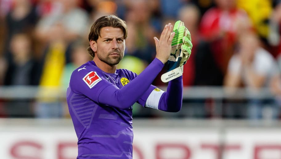 ZWICKAU, GERMANY - MAY 14: Goalkeeper Roman Weidenfeller of Dortmund gestures after the Friendly Match match between FSV Zwickau and Borussia Dortmund at Stadion Zwickau on May 14, 2018 in Zwickau, Germany. (Photo by TF-Images/Getty Images)