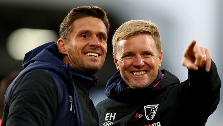 LONDON, ENGLAND - OCTOBER 27: Jason Tindall and Eddie Howe of Bournemouth look on after the Premier League match between Fulham FC and AFC Bournemouth at Craven Cottage on October 27, 2018 in London, United Kingdom. (Photo by Clive Rose/Getty Images)