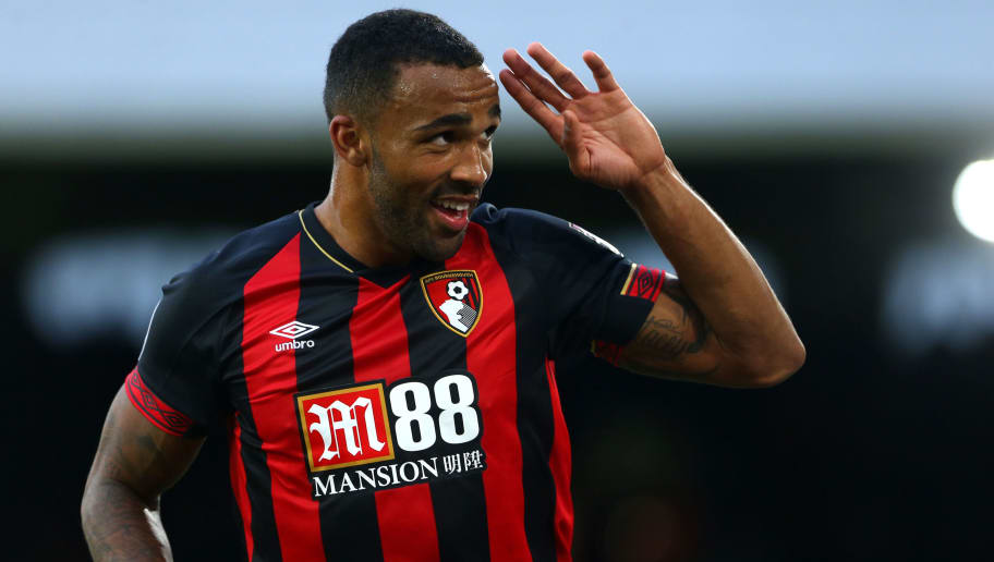 LONDON, ENGLAND - OCTOBER 27: Callum Wilson of AFC Bournemouth celebrates scoring his team third goal during the Premier League match between Fulham FC and AFC Bournemouth at Craven Cottage on October 27, 2018 in London, United Kingdom. (Photo by Chloe Knott - Danehouse/Getty Images)