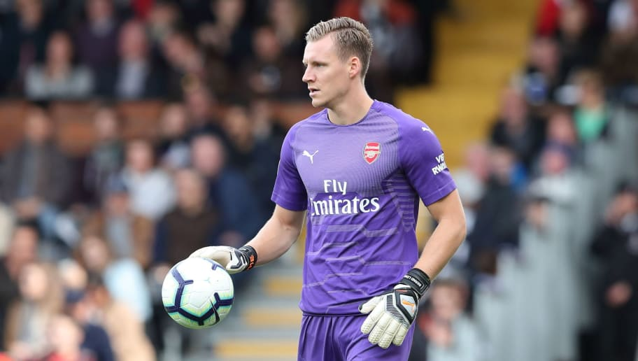 LONDON, ENGLAND - OCTOBER 07: Bernd Leno of Arsenal during the Premier League match between Fulham FC and Arsenal FC at Craven Cottage on October 7, 2018 in London, United Kingdom. (Photo by James Williamson - AMA/Getty Images)