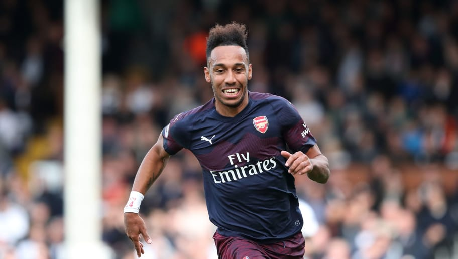 LONDON, ENGLAND - OCTOBER 07: Pierre-Emerick Aubameyang of Arsenal during the Premier League match between Fulham FC and Arsenal FC at Craven Cottage on October 7, 2018 in London, United Kingdom. (Photo by James Williamson - AMA/Getty Images)