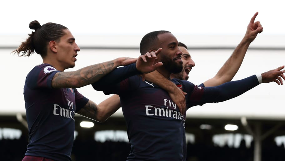 LONDON, ENGLAND - OCTOBER 07: Alexandre Lacazette of Arsenal celebrates after scoring a goal to make it 2-1 during the Premier League match between Fulham FC and Arsenal FC at Craven Cottage on October 7, 2018 in London, United Kingdom. (Photo by James Williamson - AMA/Getty Images)