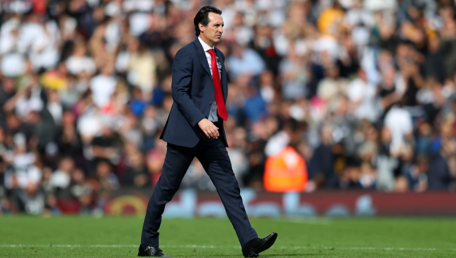 LONDON, ENGLAND - OCTOBER 07: Unai Emery manager / head coach of Arsenal during the Premier League match between Fulham FC and Arsenal FC at Craven Cottage on October 7, 2018 in London, United Kingdom. (Photo by Catherine Ivill/Getty Images)