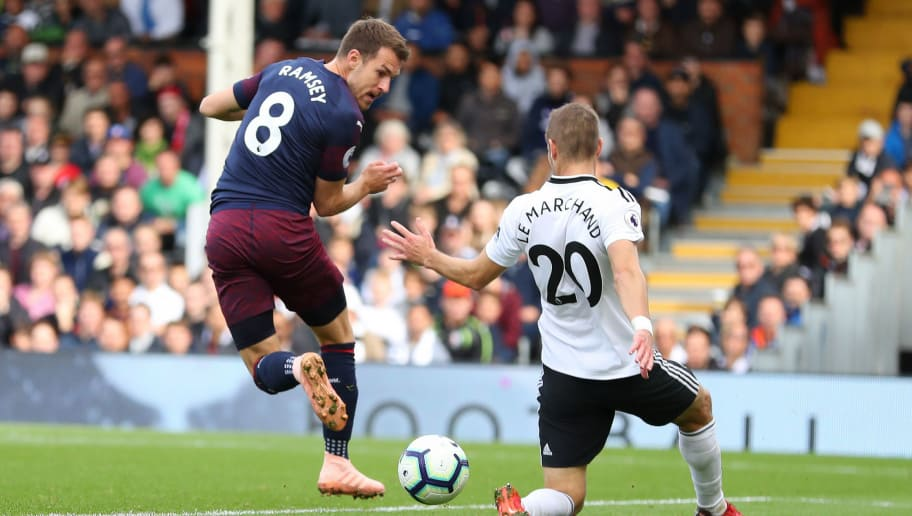 LONDON, ENGLAND - OCTOBER 07:  Aaron Ramsey of Arsenal scores his team's third goal during the Premier League match between Fulham FC and Arsenal FC at Craven Cottage on October 7, 2018 in London, United Kingdom.  (Photo by Catherine Ivill/Getty Images)