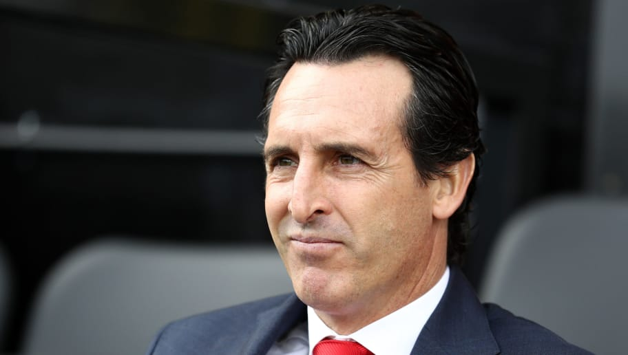 LONDON, ENGLAND - OCTOBER 07:  Unai Emery, Manager of Arsenal looks on prior to the Premier League match between Fulham FC and Arsenal FC at Craven Cottage on October 7, 2018 in London, United Kingdom.  (Photo by Bryn Lennon/Getty Images)