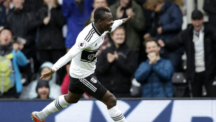 LONDON, ENGLAND - AUGUST 26:  Jean Michael Seri of Fulham celebrates after scoring his team's first goal during the Premier League match between Fulham FC and Burnley FC at Craven Cottage on August 26, 2018 in London, United Kingdom.  (Photo by Henry Browne/Getty Images)