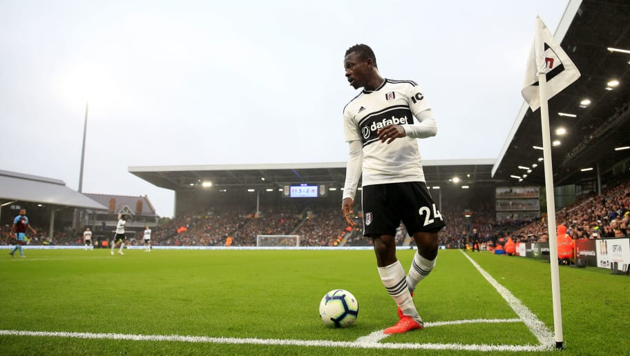 LONDON, ENGLAND - AUGUST 26: Jean Michael Seri of Fulham during the Premier League match between Fulham FC and Burnley FC at Craven Cottage on August 25, 2018 in London, United Kingdom. (Photo by Marc Atkins/Getty Images)