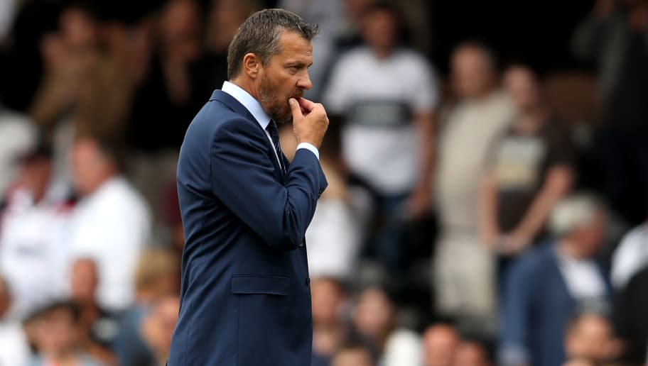LONDON, ENGLAND - AUGUST 11:  Slavisa Jokanovic, Manager of Fulham looks dejected after the Premier League match between Fulham FC and Crystal Palace at Craven Cottage on August 11, 2018 in London, United Kingdom.  (Photo by Christopher Lee/Getty Images)