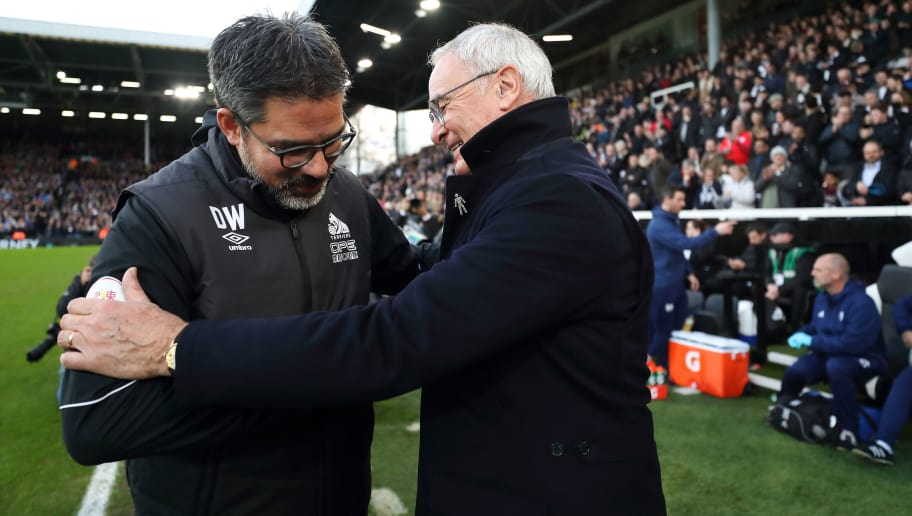LONDON, ENGLAND - DECEMBER 29: Huddersfield Town manager \ head coach David Wagner and Fulham manager \ head coach Claudio Ranieri during the Premier League match between Fulham FC and Huddersfield Town at Craven Cottage on December 29, 2018 in London, United Kingdom. (Photo by James Williamson - AMA/Getty Images)