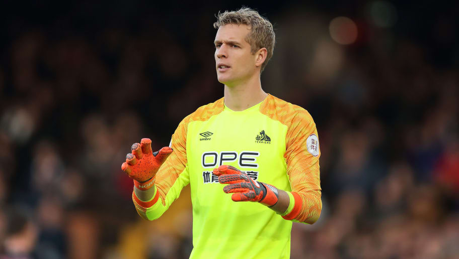 LONDON, ENGLAND - DECEMBER 29: Jonas Lossl of Huddersfield Town during the Premier League match between Fulham FC and Huddersfield Town at Craven Cottage on December 29, 2018 in London, United Kingdom. (Photo by James Williamson - AMA/Getty Images)