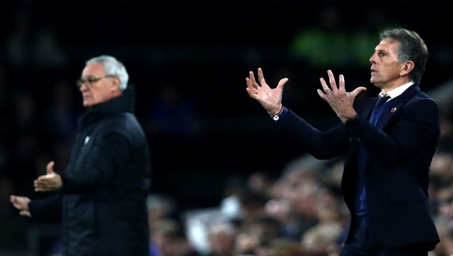 LONDON, ENGLAND - DECEMBER 05:  Claude Puel, Manager of Leicester City and Claudio Ranieri, Manager of Fulham reacts during the Premier League match between Fulham FC and Leicester City at Craven Cottage on December 5, 2018 in London, United Kingdom.  (Photo by Dan Istitene/Getty Images)