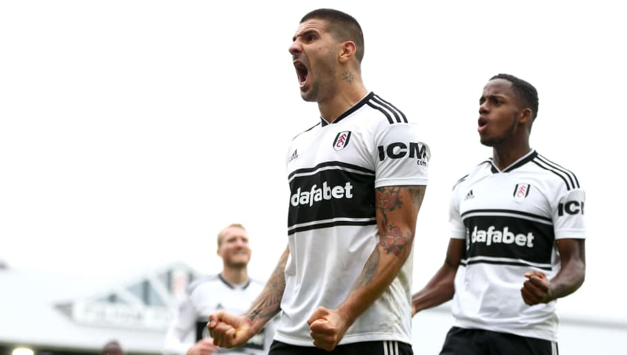 LONDON, ENGLAND - SEPTEMBER 22:  Aleksandar Mitrovic of Fulham celebrates after scoring his sides first goal during the Premier League match between Fulham FC and Watford FC at Craven Cottage on September 22, 2018 in London, United Kingdom.  (Photo by Steve Bardens/Getty Images)