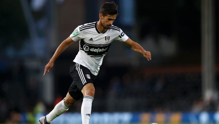 LONDON, ENGLAND - AUGUST 28:  Rui Fonte of Fulham in action during the Carabao Cup Second Round match between Fulham and Exeter City at Craven Cottage on August 28, 2018 in London, England.  (Photo by Naomi Baker/Getty Images)