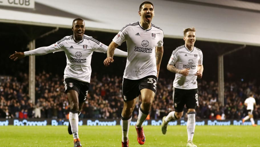 LONDON, ENGLAND - APRIL 03:  Aleksandar Mitrovic of Fulham celebrates after scoring his sides second goal during the Sky Bet Championship match between Fulham and Leeds United at Craven Cottage on April 3, 2018 in London, England.  (Photo by Catherine Ivill/Getty Images)