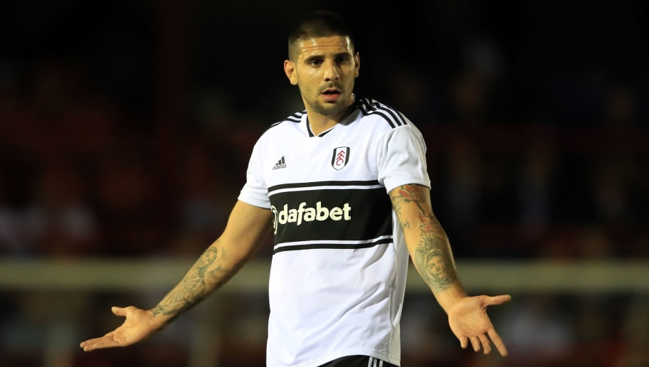 ALDERSHOT, ENGLAND - AUGUST 01: Aleksandar Mitrovic of Fulham during the Pre-Season Friendly between Fulham v Sampdoria at the  EBB Stadium on August 1, 2018 in Aldershot, England. (Photo by Marc Atkins/Getty Images)