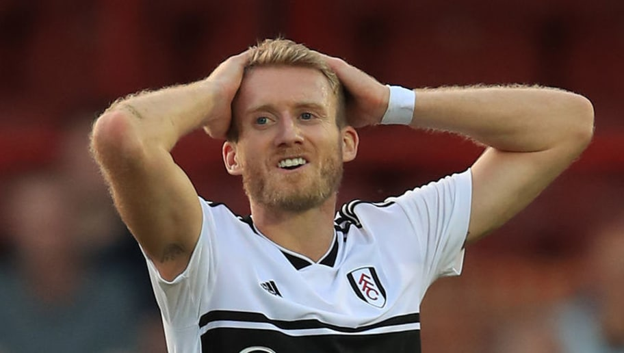 ALDERSHOT, ENGLAND - AUGUST 01: Andre Schurrle of Fulham during the Pre-Season Friendly between Fulham v Sampdoria at the  EBB Stadium on August 1, 2018 in Aldershot, England. (Photo by Marc Atkins/Getty Images)