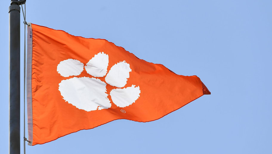 CLEMSON, SC - SEPTEMBER 01: A detail view of a Clemson University flag prior to the start of the Clemson Tigers' football game against the Furman Paladins on September 1, 2018 in Clemson, South Carolina. (Photo by Mike Comer/Getty Images)