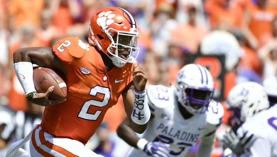 CLEMSON, SC - SEPTEMBER 01: Quarterback Kelly Bryant #2 of the Clemson Tigers runs the football during the first quarter of the Tigers' football game against the Furman Paladins at Clemson Memorial Stadium on September 1, 2018 in Clemson, South Carolina. (Photo by Mike Comer/Getty Images)