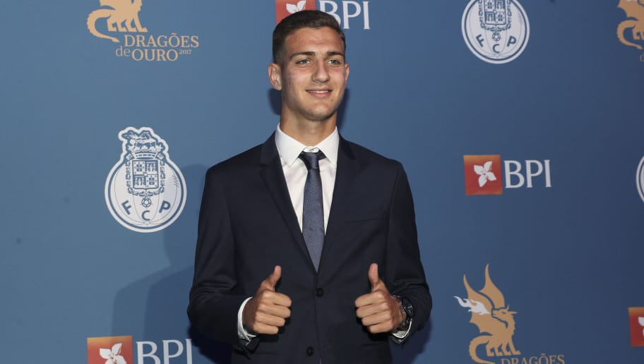 PORTO, PORTUGAL - OCTOBER 25: FC Porto's defender Diogo Dalot from Portugal attends FC Porto Gala Dragoes de Ouro 2016 - 2017 at Dragao Caixa on October 25, 2017 in Porto, Portugal. (Photo by Carlos Rodrigues/Getty Images)
