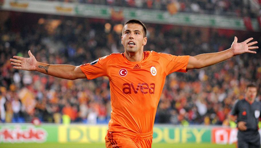 Galatasaray's Milan Baros celebrates aft