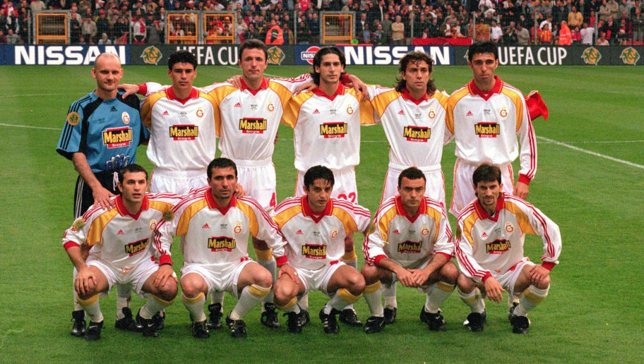 17 May 2000:  Galatasaray team line-up before the UEFA Cup Final against Arsenal at the Parken Stadium, in Copenhagen, Denmark. The match ended in 0-0 draw after extra time, Galatasaray won 4-1 on penalties. \ Mandatory Credit: Graham Chadwick /Allsport