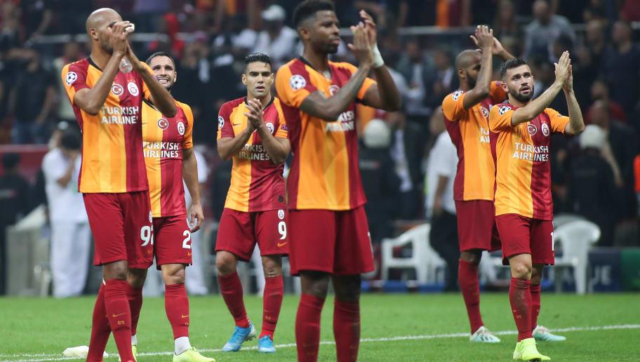 Players of Galatasaray celebrate