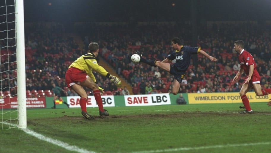 1993:  Gary Blissett of Wimbledon scores a spectacular goal during an FA Carling Premiership match against Swindon at Selhurst Park in London. Wimbledon won the match 3-0. \ Mandatory Credit: Steve  Morton/Allsport