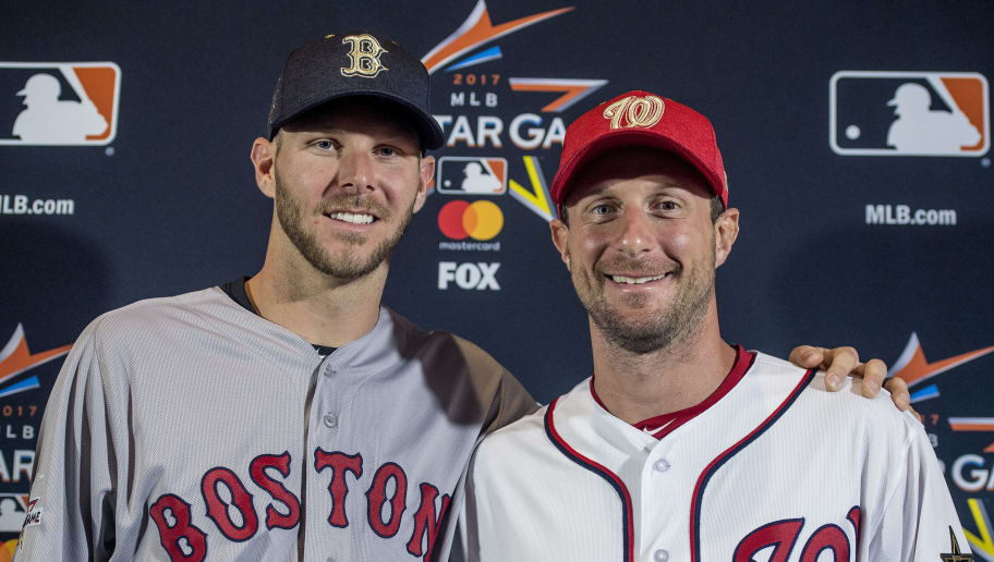 MIAMI, FL - JULY 10: Chris Sale #41 of the Boston Red Sox poses for a photograph with Max Scherzer #31 of the Washington Nationals as they are announced as the starting pitchers during Gatorade All-Star Workout Day at Marlins Park on July 10, 2017 in Miami, Florida. (Photo by Billie Weiss/Boston Red Sox/Getty Images)