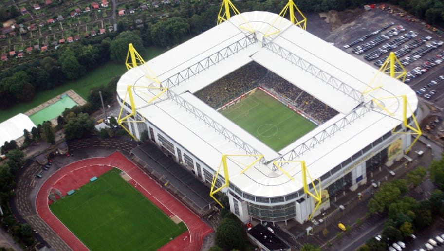 DORTMUND,  GERMANY - OCTOBER 2:  A general view of the Westfalen Stadium is seen on October 2, 2005 in Dortmund, Germany. The Westfalen Stadium is one of the host Stadiums that will be used during the FIFA World Cup 2006 in Germany. (Photo by Lutz Bongarts/Bongarts/Getty Images)